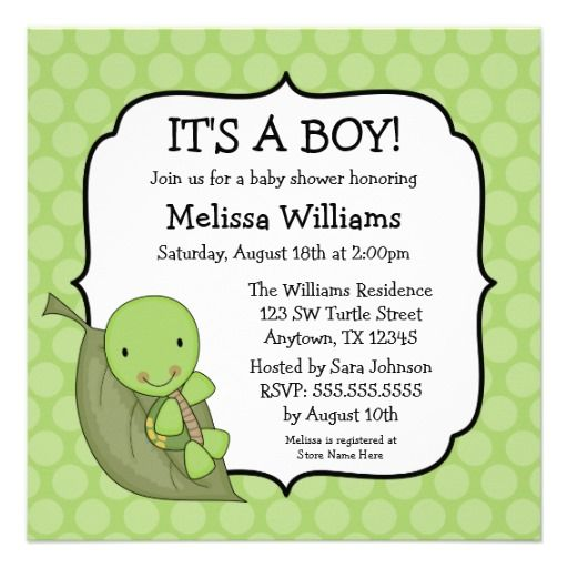 turtle green dots baby shower invitations | babies, dots and, Baby shower invitations