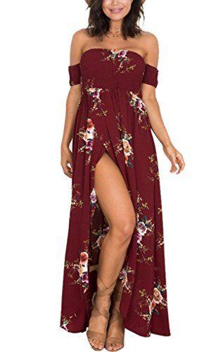 0d3abf0cec70 Best Dress Women s Sexy Off Shoulder High Low Wrap Ruffle Casual Floral  Print Beach Summer Dress
