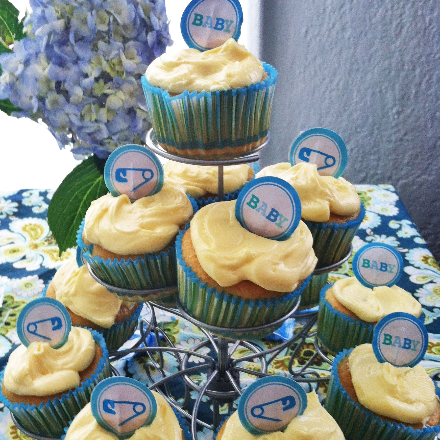 Baby shower cupcake tower, baby boy, blue, cupcakes