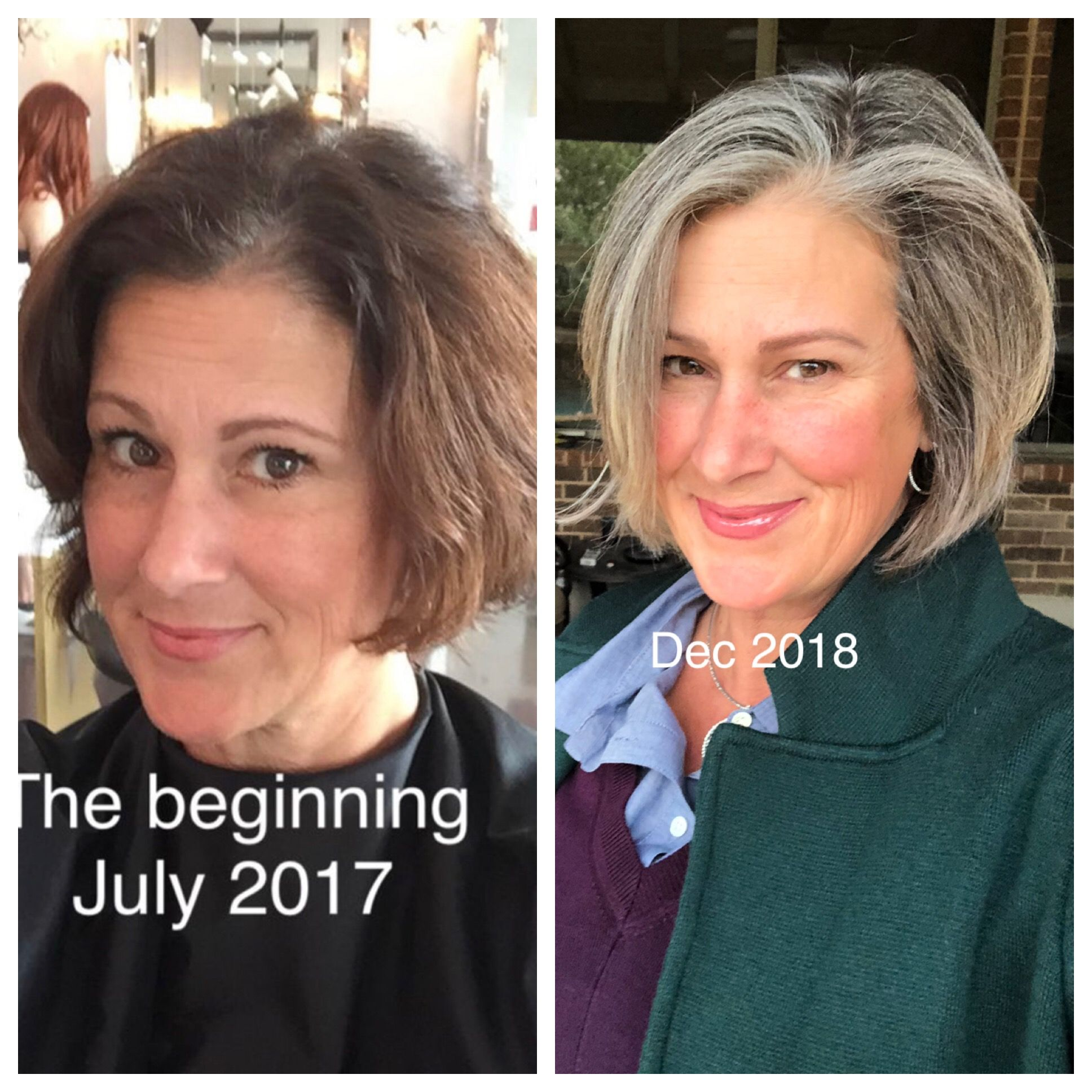 Gray Transition Complete No More Dye Ever Again Blending Gray Hair Gray Hair Growing Out Transition To Gray Hair