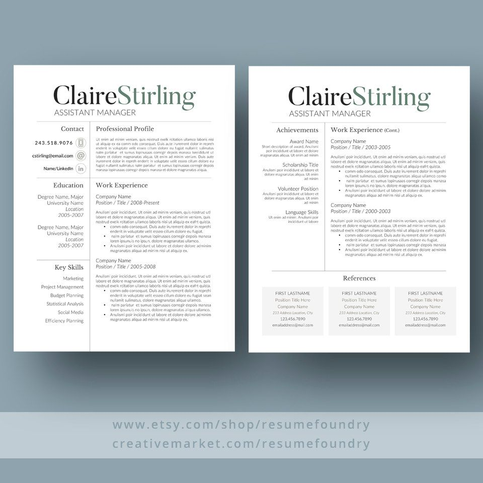 Modern Resume Template for Word 1-3 Page Resume Cover | Knowledge ...