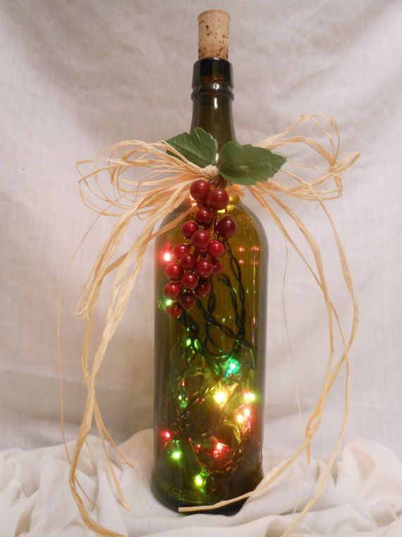 Lighted wine bottle multicolors wine pinterest for Glass bottle art and craft