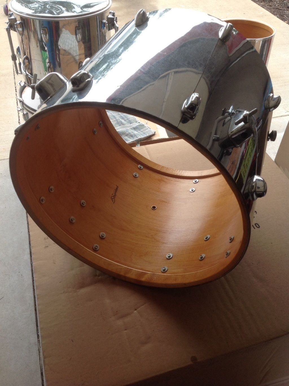 Vintage 1970s Slingerland 18 X 16 Floor Tom Drum Chrome Over Wood Rare Size Ebay Tom Drum Vintage Drums Chrome