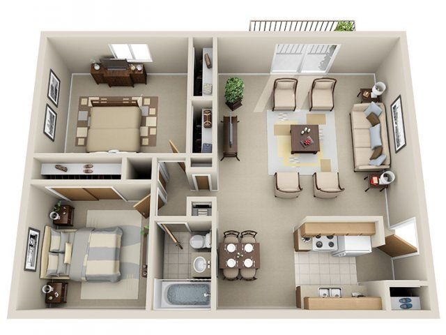 2 Bedroom 1 Bath Apartment 729 809 Rent 250 Dep 2 Beds 1 Bath 882 Sq Feet Sims House Plans Small House Plans House Plans
