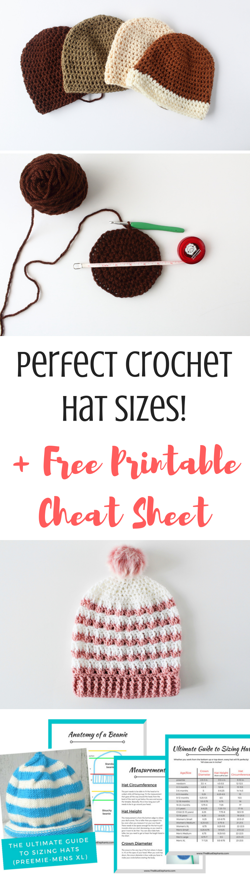 How to Crochet Hat Sizes in 3 Easy Steps + Hat Sizing Freebie   hats ...