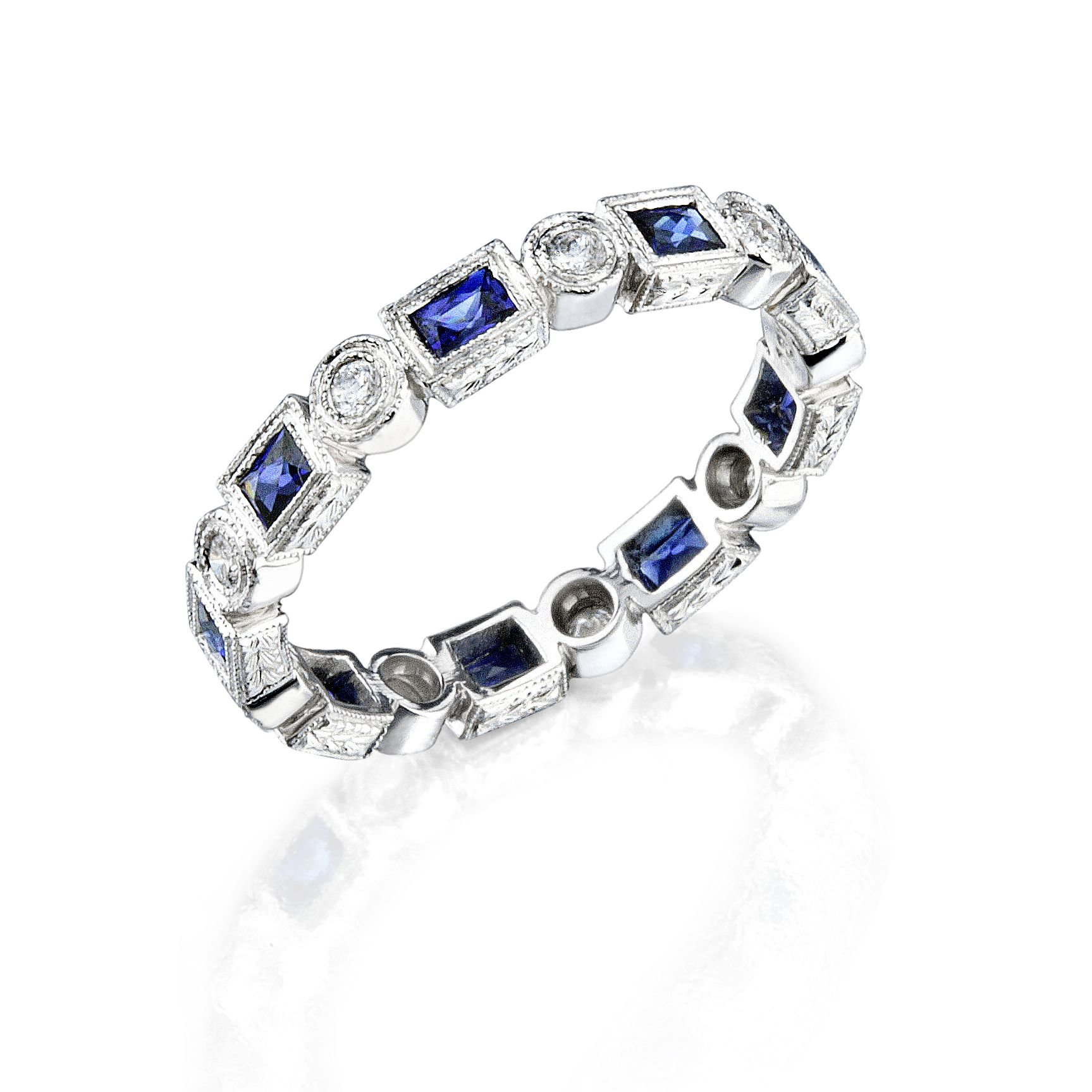 for anniversary band bands sapphire wedding diamond jewelry or blue view ring