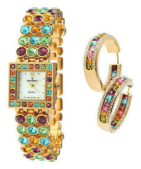 Teal Crystal & Gold Watch & Earrings