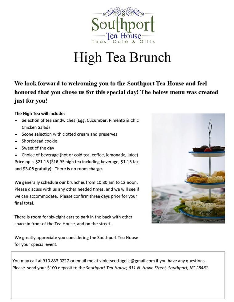 High Teat at Southport Tea House. Great Bridal Luncheon option!