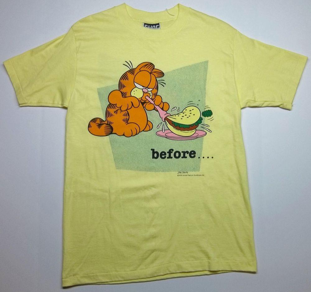 Vintage Garfield Before After 1978 Jim Davis Surf Gear Medium T Shirt Surfgear Graphictee Surf Gear Shirts T Shirt