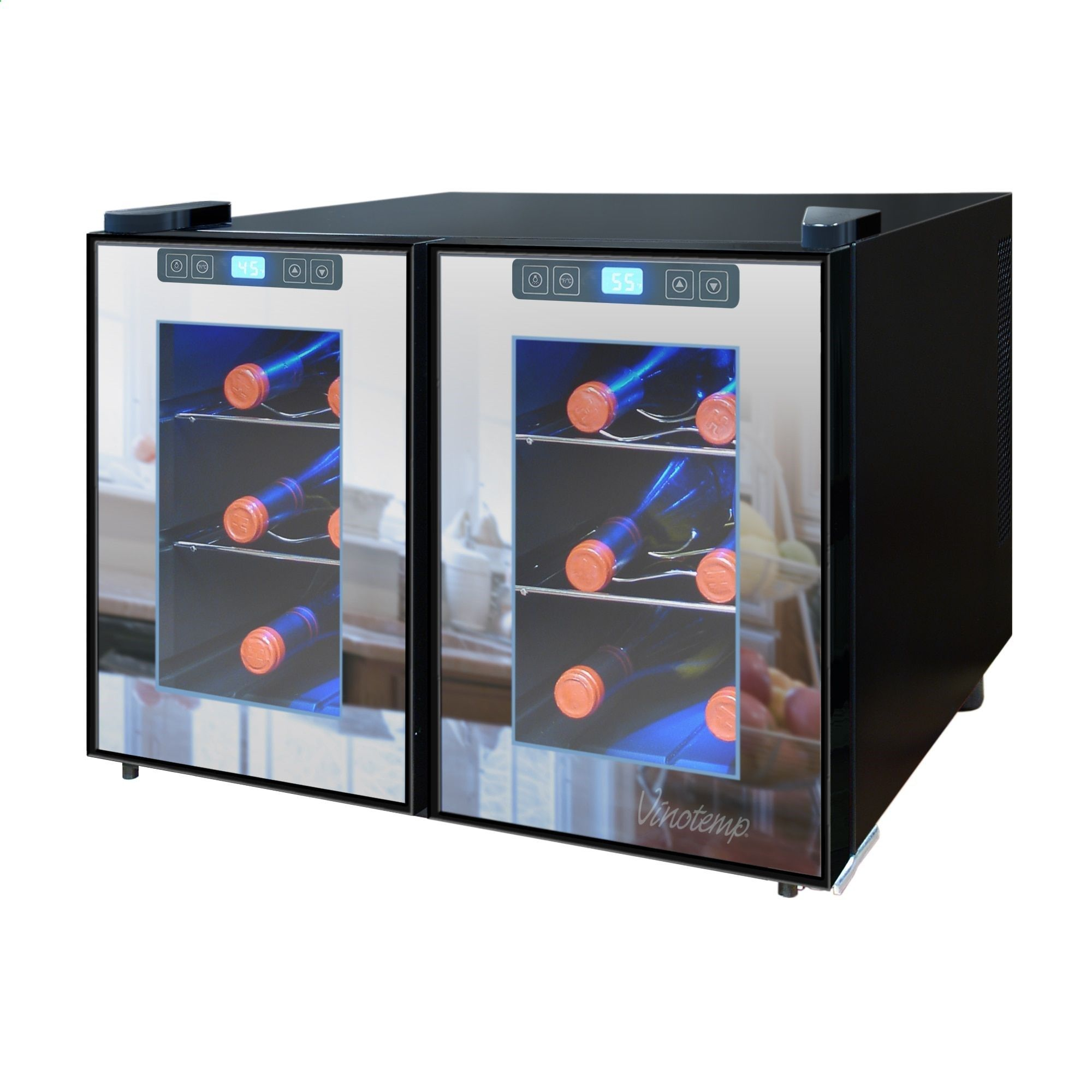 12 Bottle Wine Fridge Part - 48: Vinotemp 12-Bottle Dual-Zone Thermoelectric Mirrored Wine Cooler