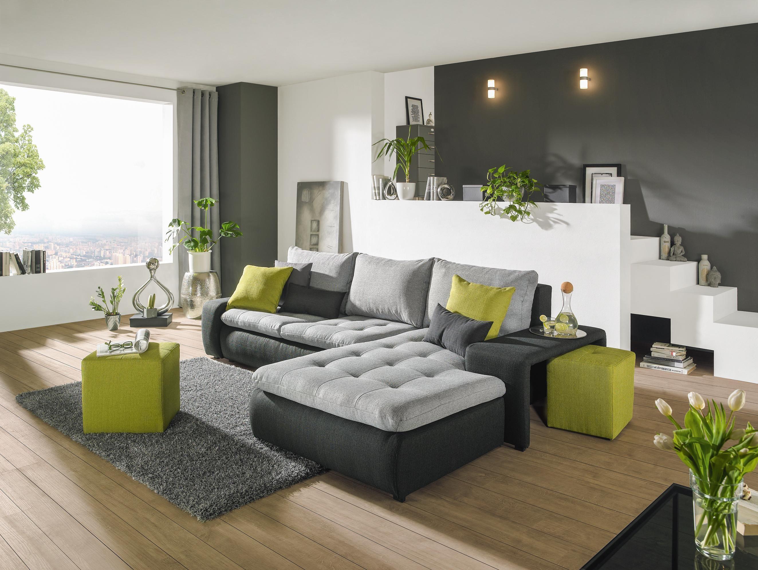 wohnlandschaft von carryhome in grau mit schlaffunktion einrichten und wohnen pinterest. Black Bedroom Furniture Sets. Home Design Ideas