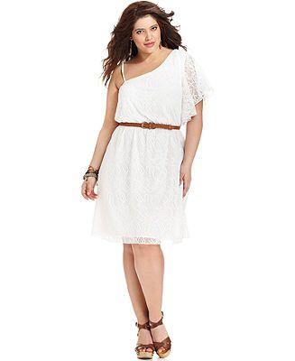 Trixxi plus size dress one-shoulder belted