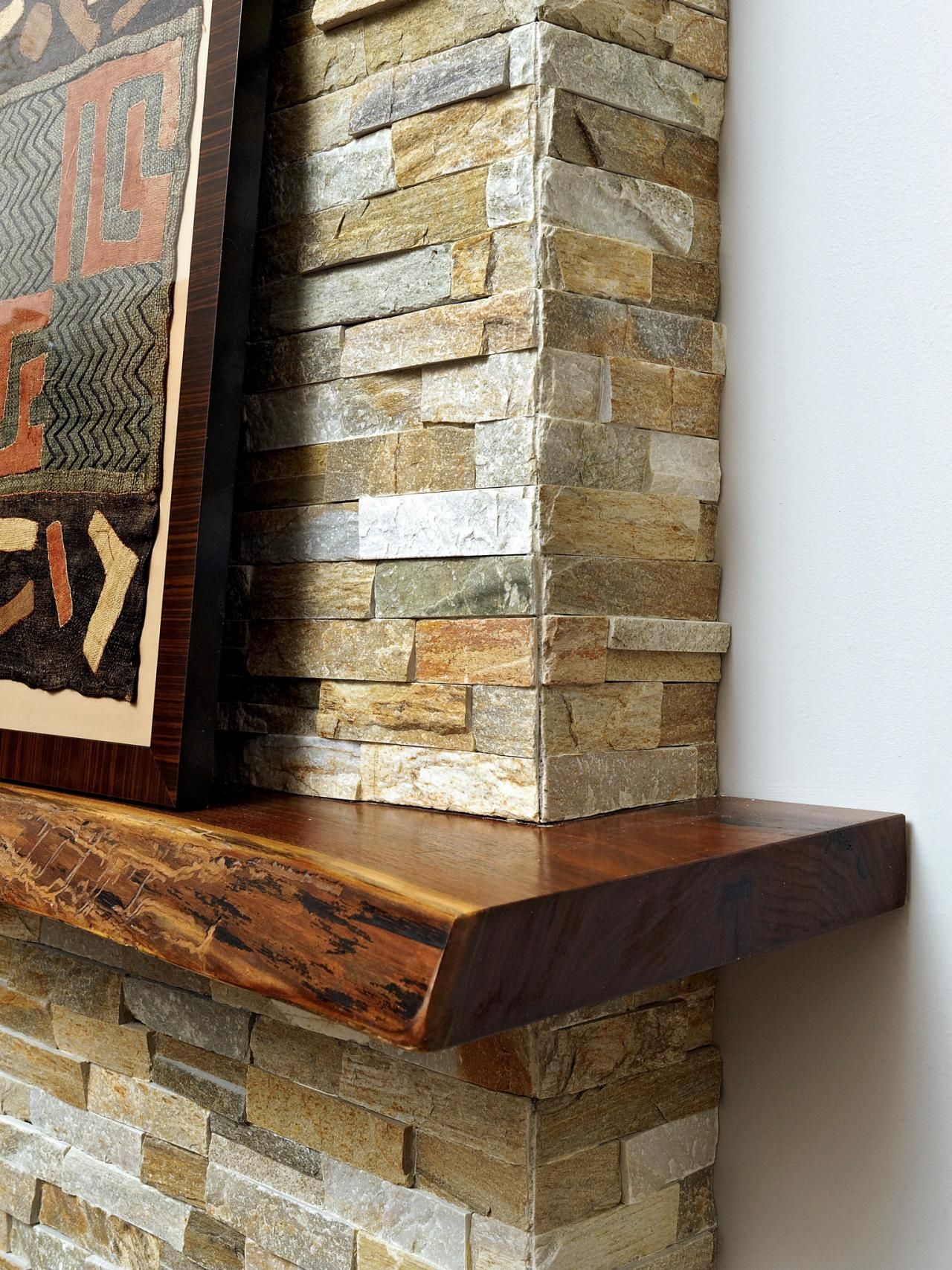 A live edge kitchen island in this contemporary home was the