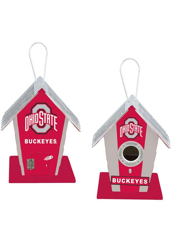 Ohio State Buckeyes Wooden Birdhouse Bird Accessory, Red #ohiostatebuckeyes