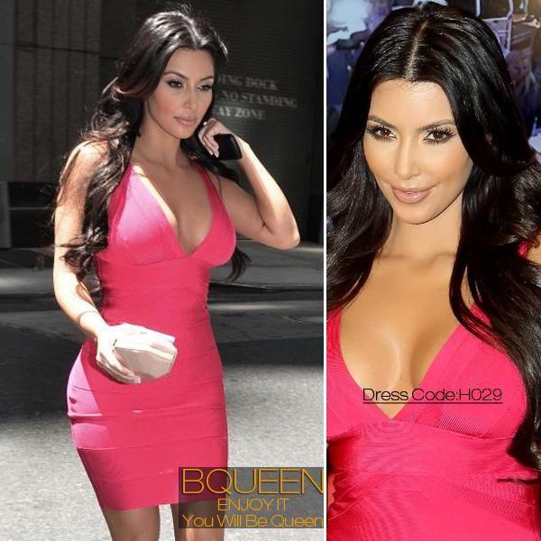 Kim Kardashian Sexy V neck Long Sleeve Bodycon Pencil Dress ...