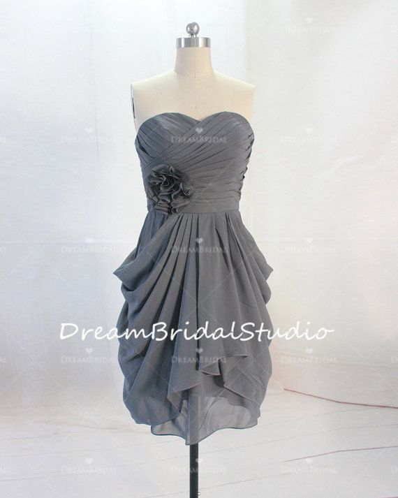 Silver Gray Short Bridesmaid Dress Strapless Mini Chiffon Bridesmaid ...