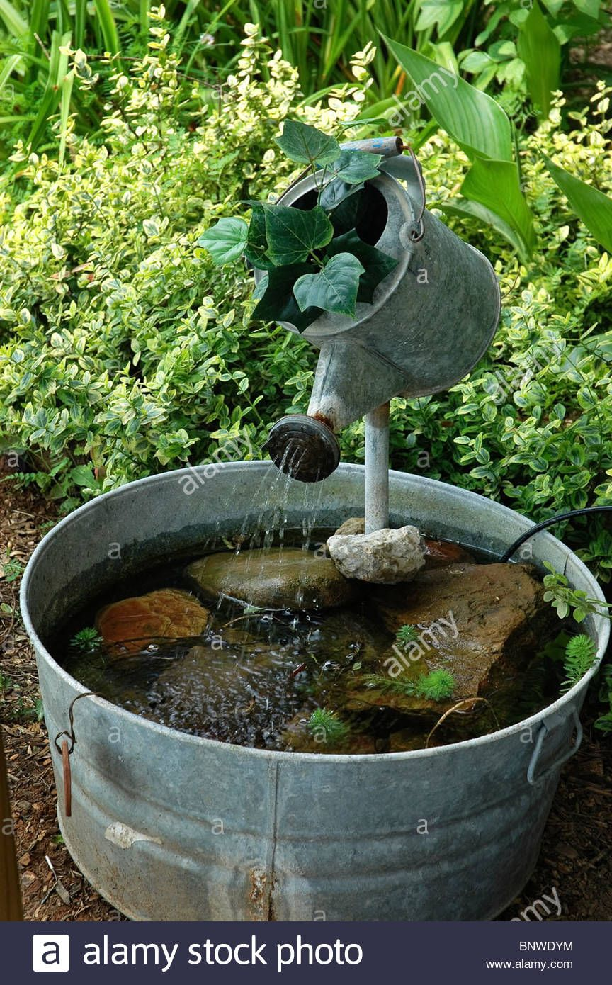 Small Garden Fountain: Wash Tub And Watering Can Fountain At Kentucky Communities