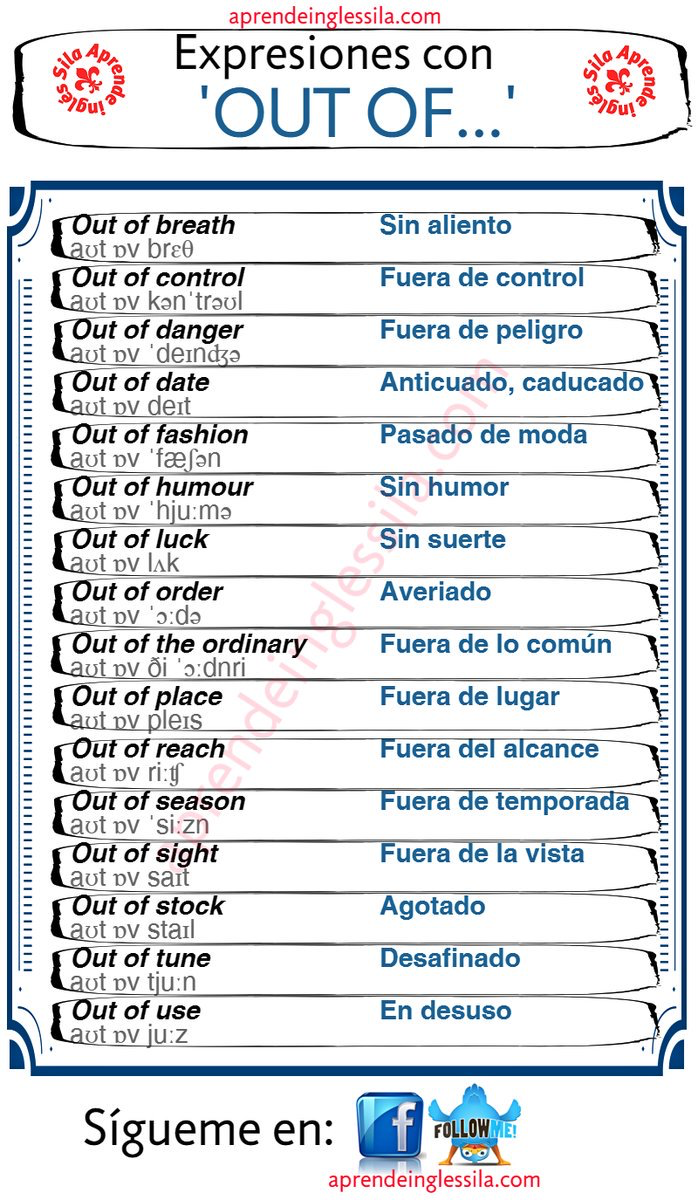 Expresiones Con Out Of Ingles Pdf Imagenes Ingles Y