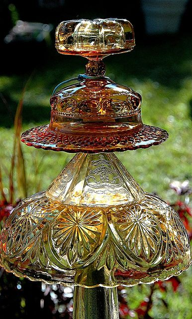 Glass garden ornament gardens antique glass and glasses for Recycled glass garden ornaments