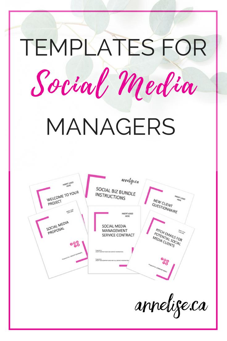 Templates For Social Media Managers The Social Biz Bundles I Marketing Strategy Social Media Social Media Management Business Social Media Marketing Business