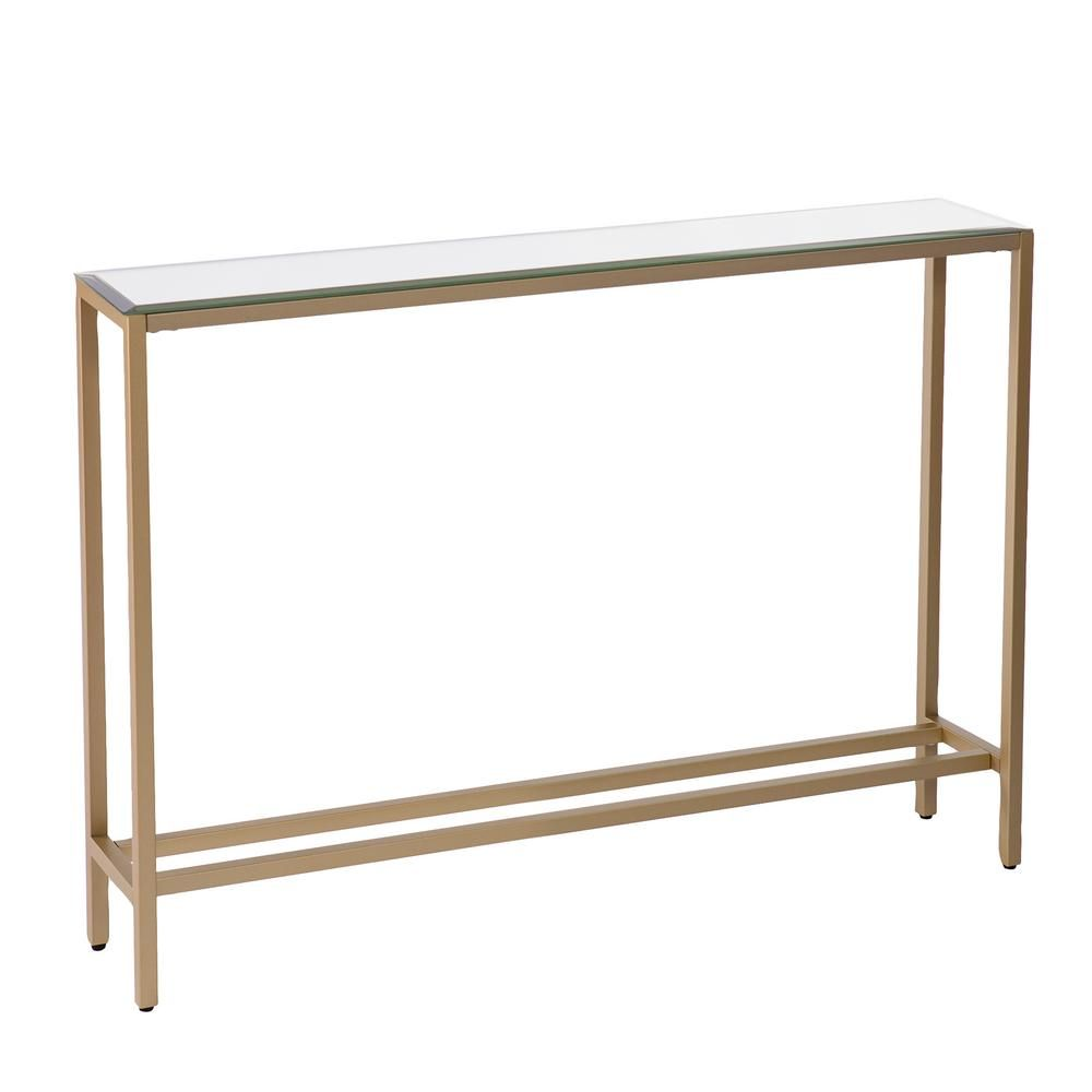 Southern Enterprises Rakin 36 In Gold Standard Rectangle Mirrored Console Table In 2021 Narrow Console Table Skinny Console Table Mirrored Sofa Table