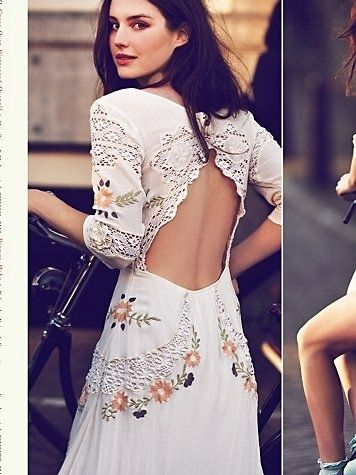 Stunning Lace open back Mexican embroidered boho vintage wedding dress design idea