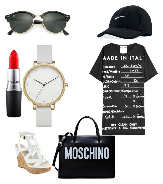 """Looks"" by madisonkiss on Polyvore featuring GUESS, Ray-Ban, Moschino, MAC Cosmetics, Skagen and NIKE"