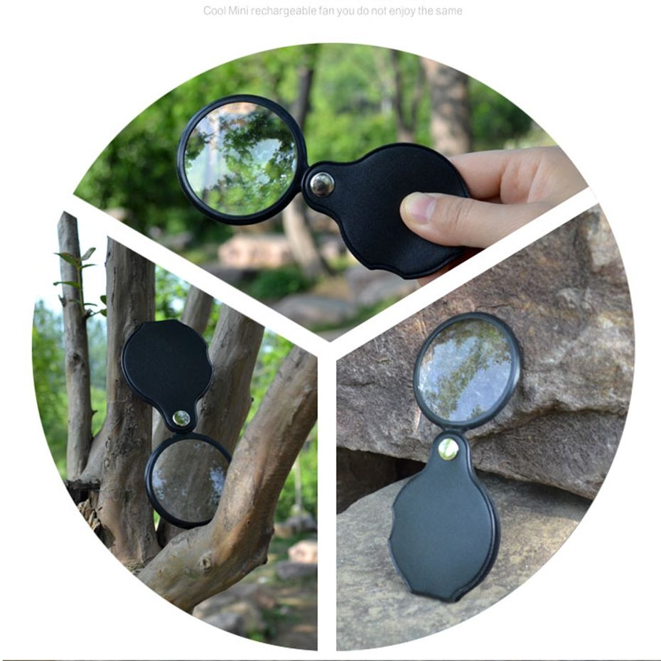 4dbf1275d293 YINGTOUMAN Foldable Protable Hand PU Magnifier for Reading Camping ...
