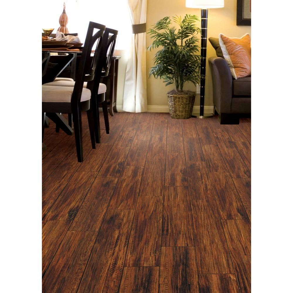 Trafficmaster embossed alameda hickory 7 mm thick x 7 3 4 for Square laminate floor tiles
