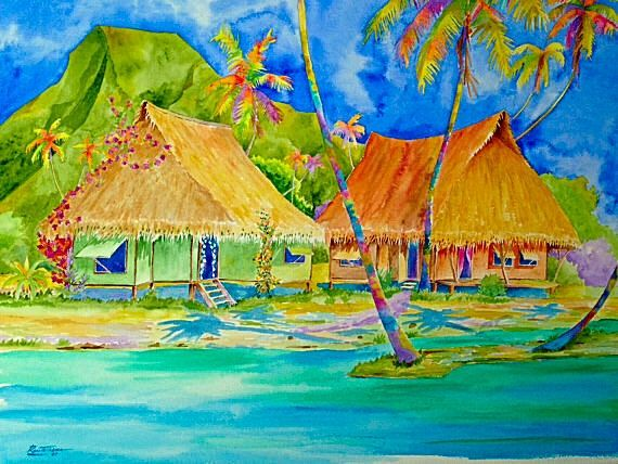 Tahiti Village Watercolor On Canvas Comment Peindre Art