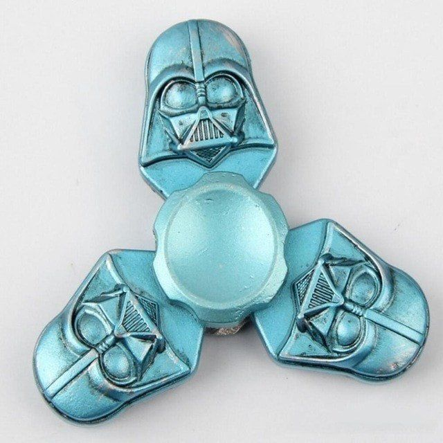 Spinner Blue Star Wars Darth Vader Helmet Metal Fid Tri Spinner