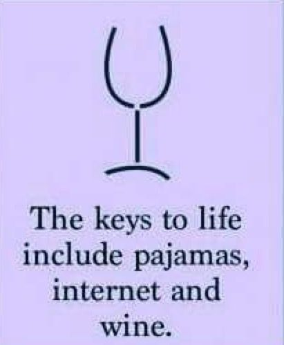 The Keys To Life Include Pajamas Internet And Wine Wine Quotes Wine Jokes Funny Drinking Quotes