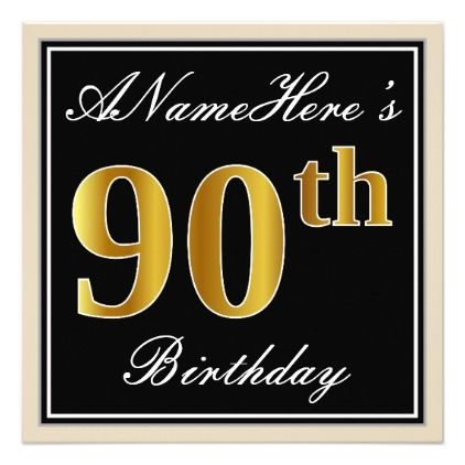 Elegant Black Faux Gold Th Birthday  Name Card   Birthday