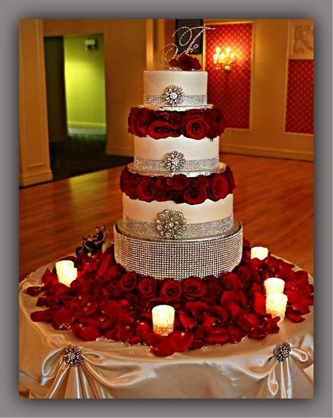 Pasteles De Boda Con Rosas Rojas Para Tu Boda Romántica Tortas Con Rosas Rojas En Espectaculares Diseños Wedding Cake Table Quinceanera Cakes Wedding Cakes