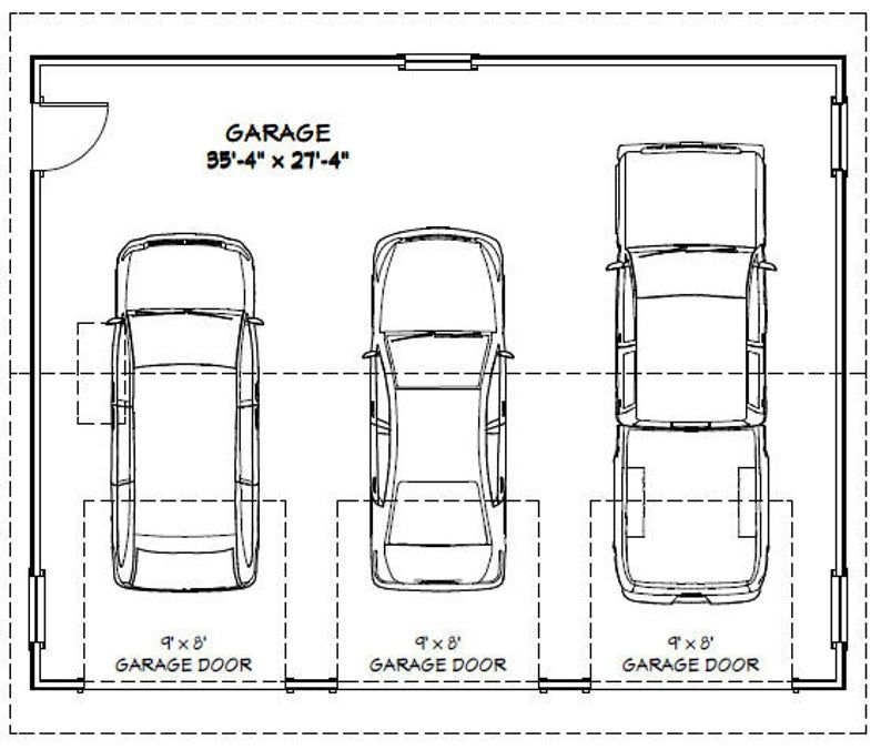 36x28 2Car Garages 1008 sq ft PDF Floor Plan Etsy in