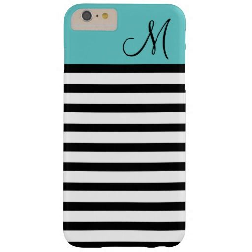 Black and Turquoise Preppy Stripes Custom Monogram Barely There iPhone 6 Plus Case
