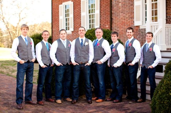 Groom And Groomsmen In Jeans Vests My Will Wear White Hair With Blue Vest Silver Tie The Grooms Me Shirt