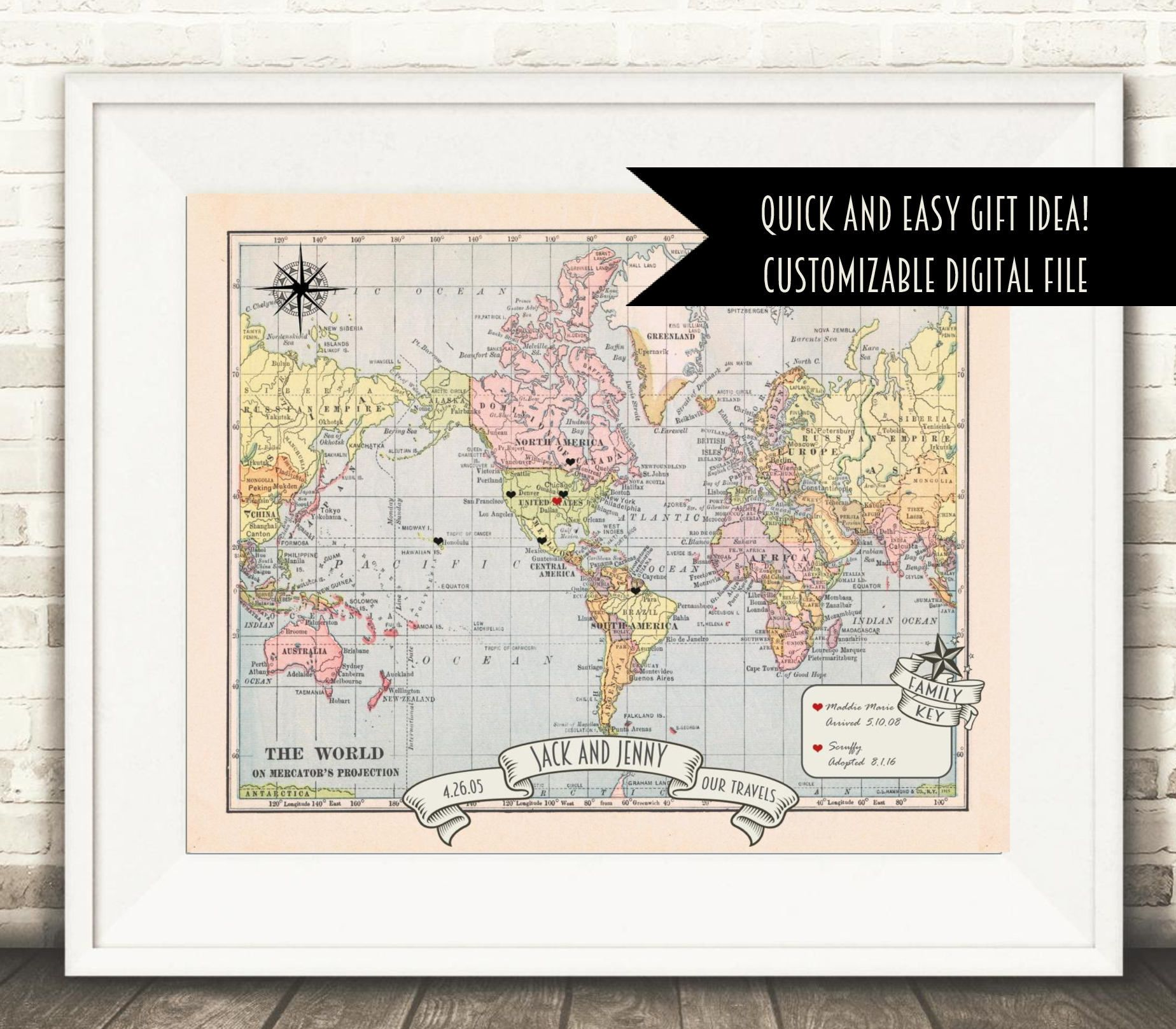 Custom world map world map anniversary or wedding gift world map custom world map world map anniversary or wedding gift world map push pin gumiabroncs Images