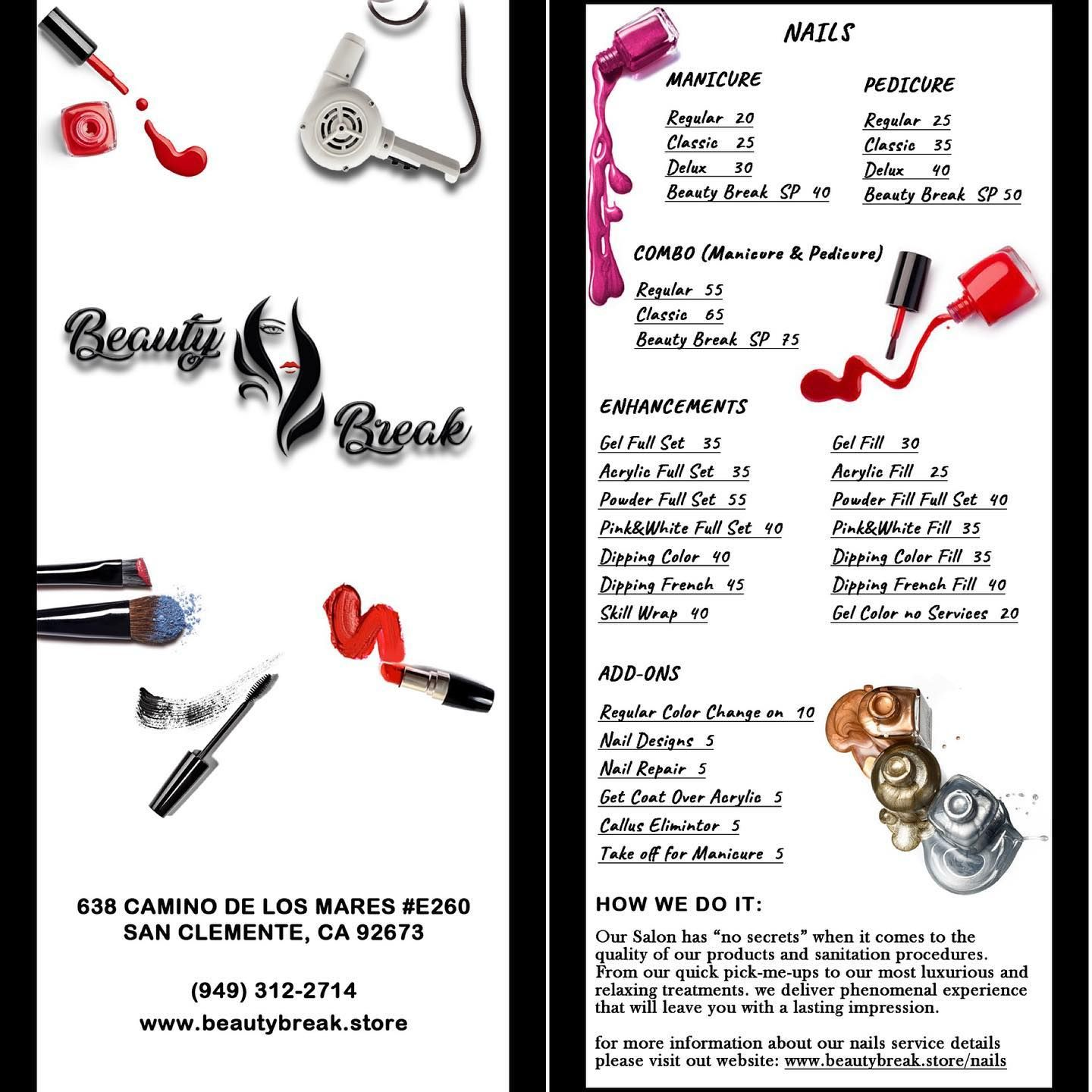 Our Services Menu Beautybreaksalon Menu Services Drybar Hair Nail Lashes Spa Manicure And Pedicure Nail Manicure Manicure