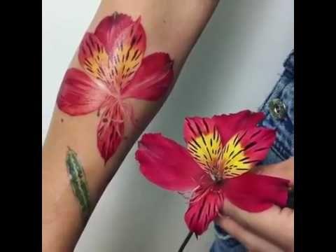 Artist Uses Real Alstroemeria As Tattoo Stencil Rit Kit Tattoo Flower Tattoo Tattoos Tattoo Stencils