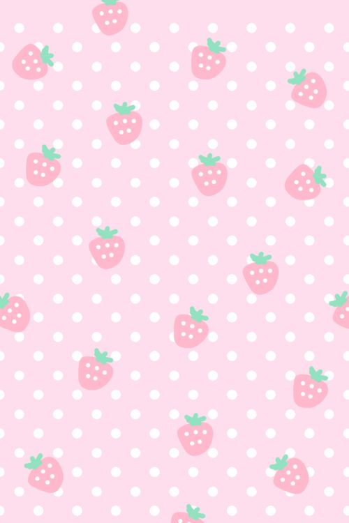 Strawberry Pink And Wallpaper Image Cute Pastel Background Kawaii Background Kawaii Wallpaper