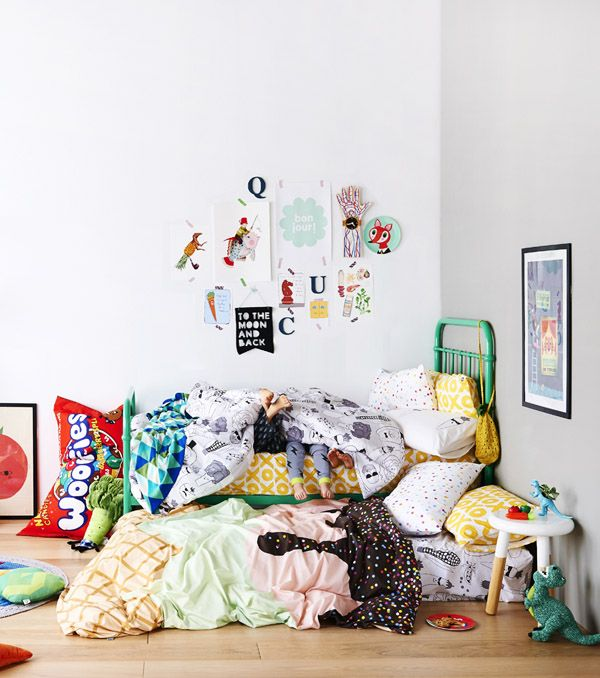 Sack Me! Childrens' bed linen. Photo - Eve Wilson. Styling - Paige Anderson. Via @thedesignfiles