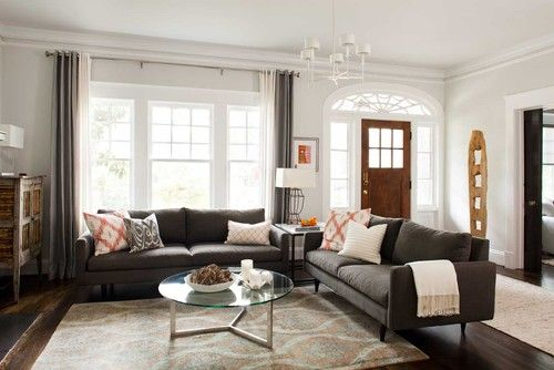 Gray upholstered sofa clairemont whole house renovation contemporary living room atlanta for Contemporary living room furniture atlanta