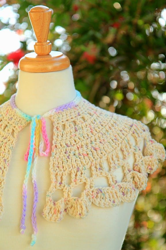 Mini Capelet crocheted from Red Heart free patterns online. Sugar 'n Cream cotton yarn. Project and photos by Mademoiselle Mermaid.