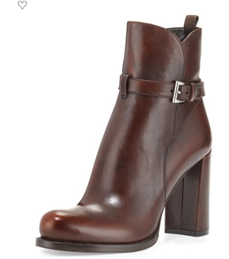 Belted Ankle Boot, Teak by Prada at Neiman Marcus.