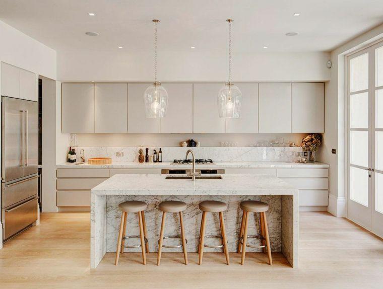 arredamento per cucine moderne bianche con isola centrale attrezzata ...