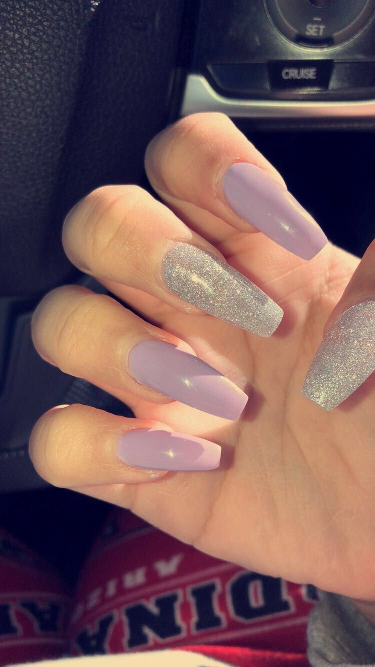 Lavender coffin acrylic nails AcrylicNailsNatural in 2019