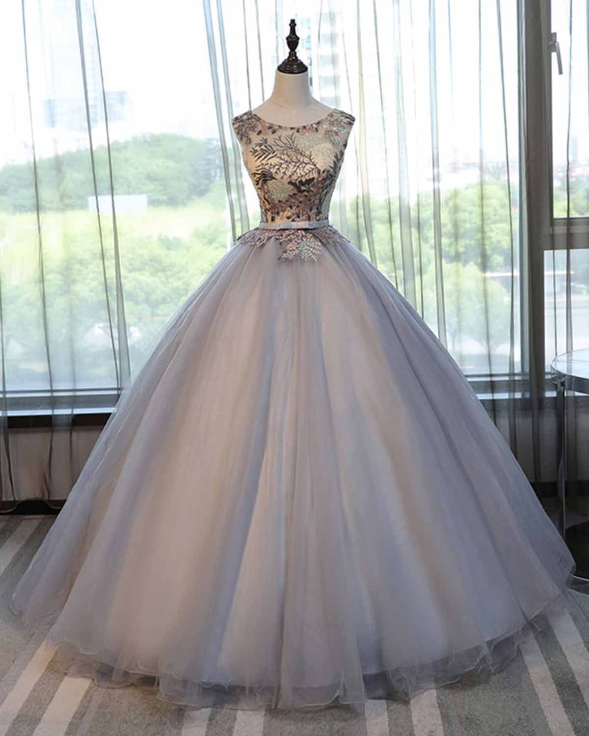 Gray tulle scoop neck long lace formal prom dress gray halter