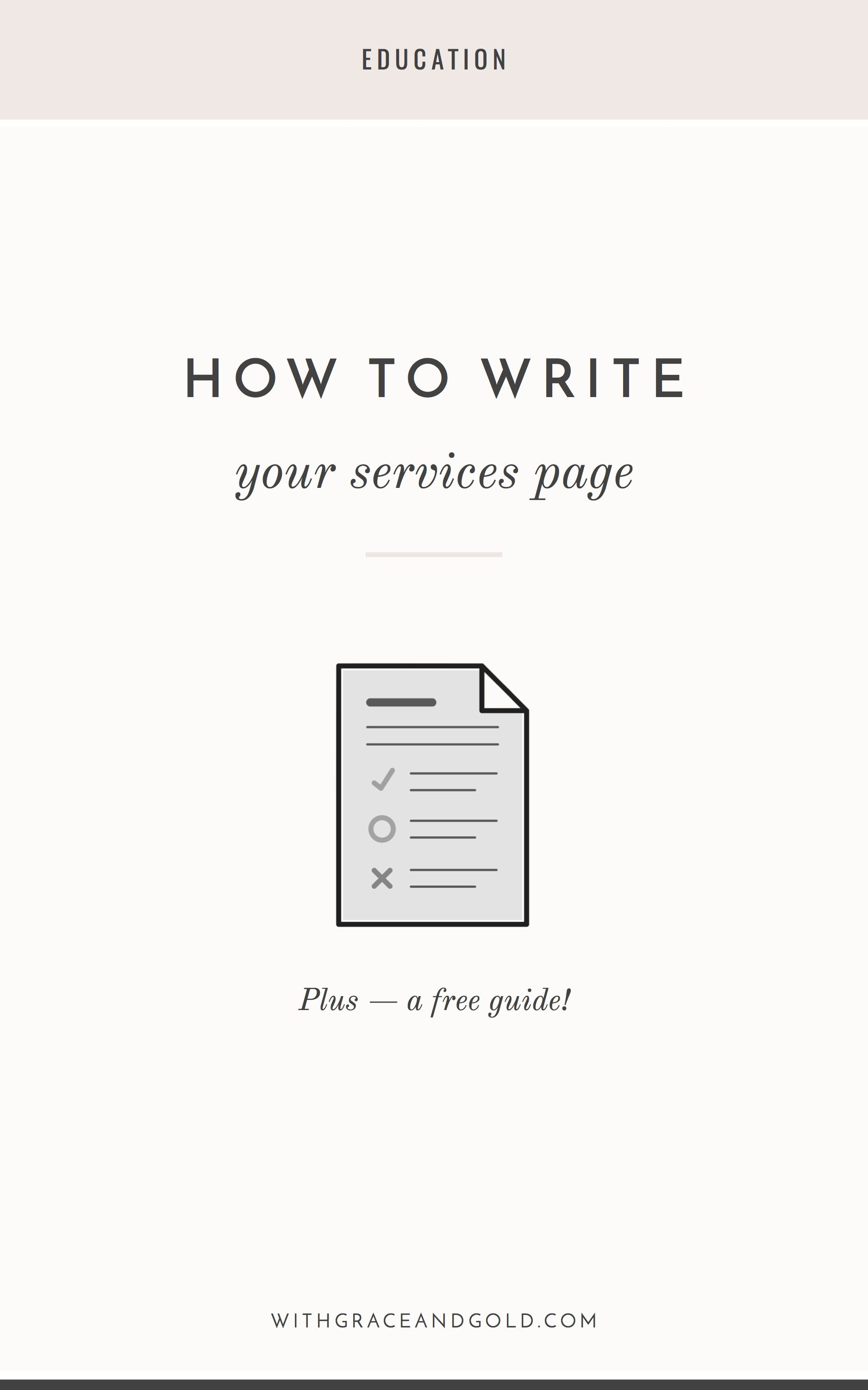 How to Write Your Services Page  With Grace & Gold  Earn money