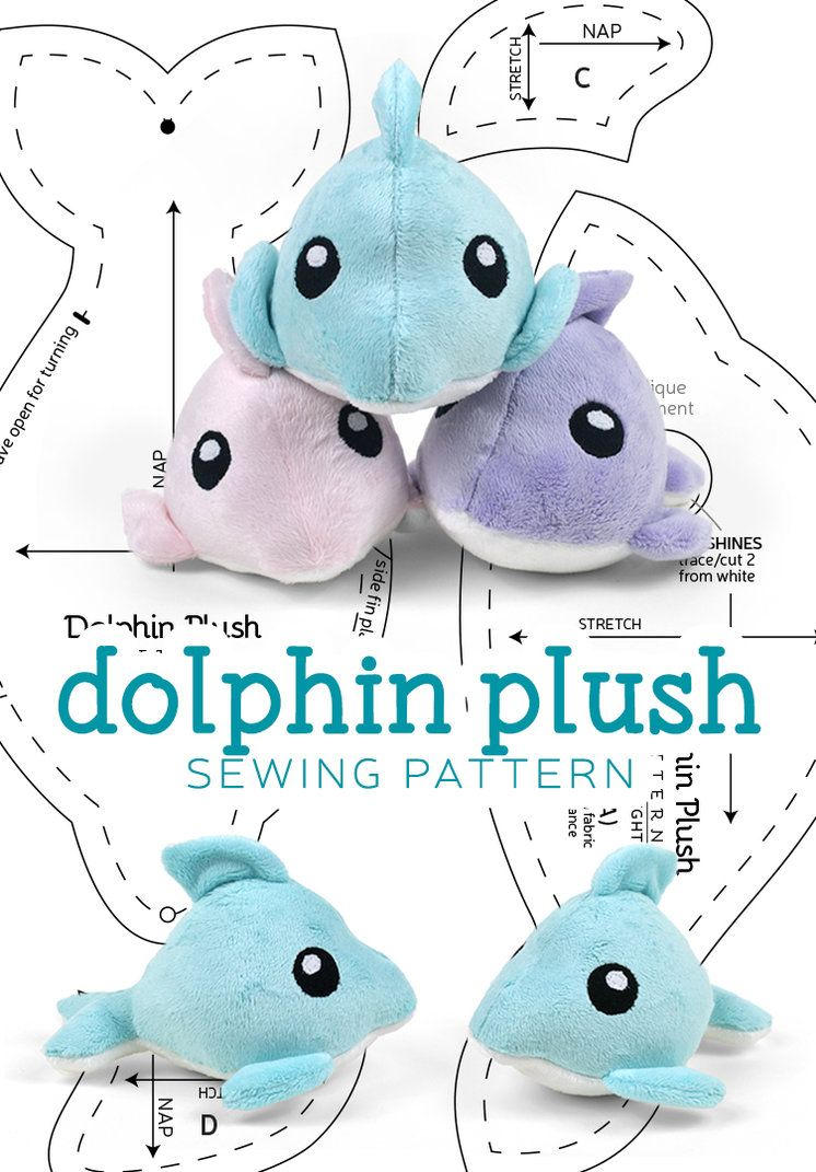DIY Dolphin Plush - FREE Sewing Pattern and Tutorial by SewDesuNe ...